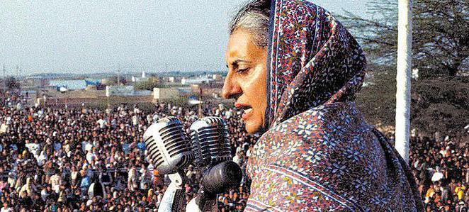 Indira Ghandi addresses a crowd.