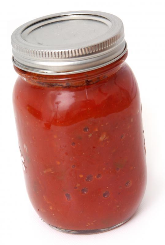 A jar of marinara sauce.