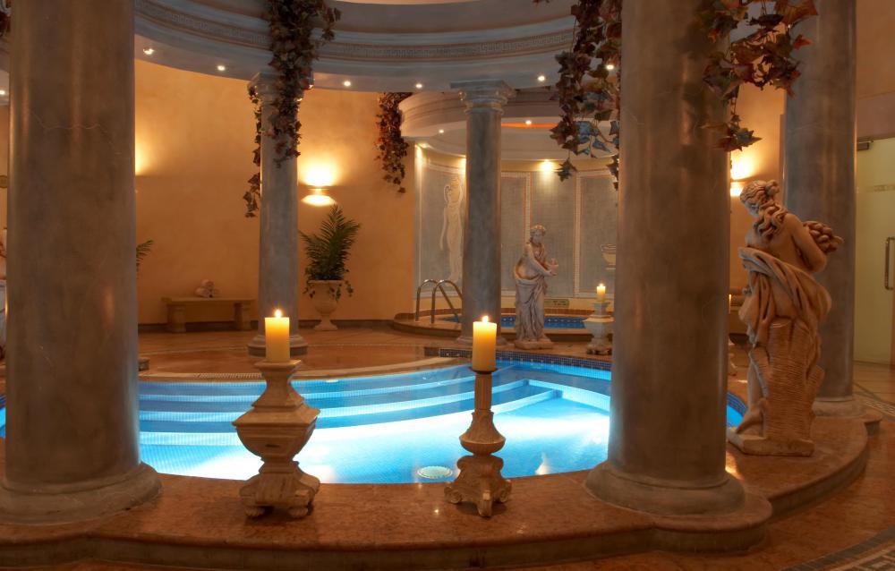 A Roman-inspired bath house.