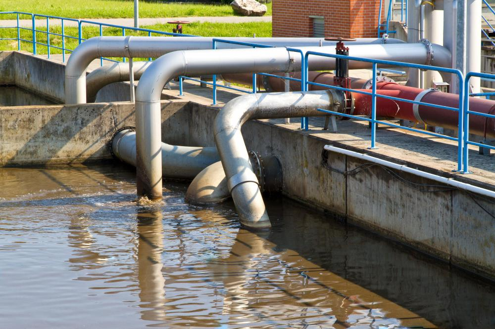 A sewage treatment plant scrubs waste and other pollutants from water that is then released back into open channels.