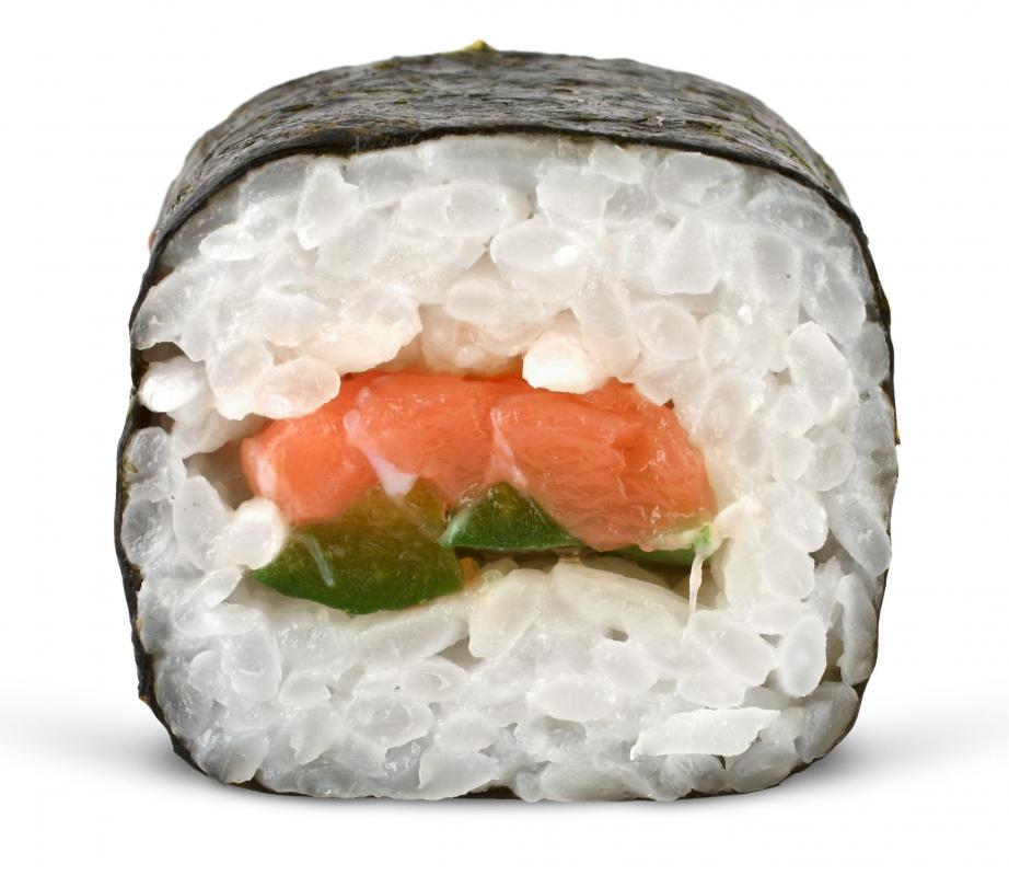 A piece of futomaki wrapped in nori.