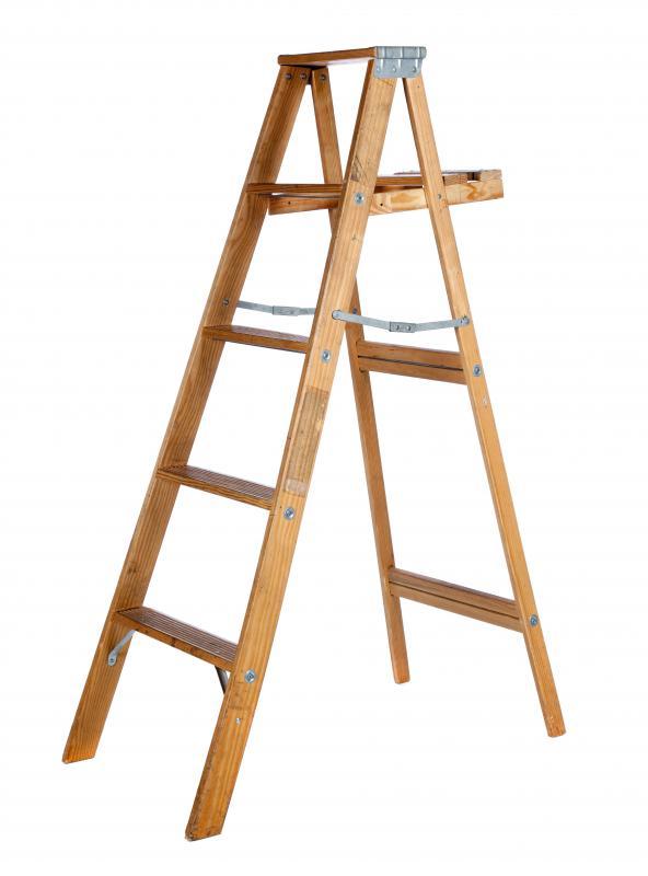 wooden folding ladder