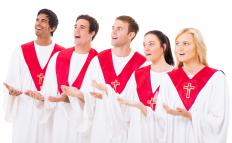 Parishioners can sing along with church choirs with lyrics posted on display through church presentation software.