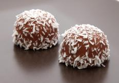 Vegan chocolate covered in coconut flakes.