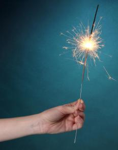 Many people celebrate Diwali by giving children sparklers to wave.