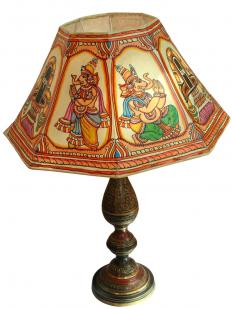 Decorated lampshades can add character to a living room.