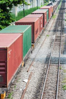 Intermodal flatcars are a type of container car that are used by railroads.