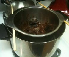 Melting chocolate in a double boiler, or bain marie.