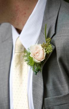 Men sometimes wear a boutonniere with semi-formal attire.