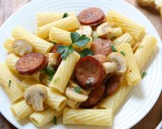 Pasta with sausage and mushrooms.