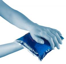 An ice pack may be used to relieve cartilage inflammation.