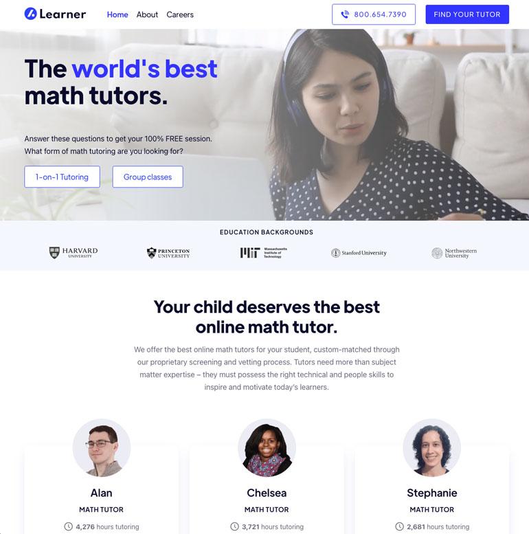 Learner online math tutor