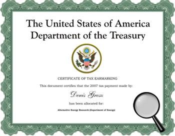 Personal Tax Earmarking Certificate